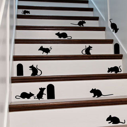 Mouse & Hole Decal Sticker for Home Door Stair Windows Wall