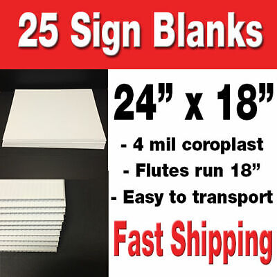 Box Of 25 24x18 Blank Lawn Signs White Corrugated Yard Signspolitical Signs