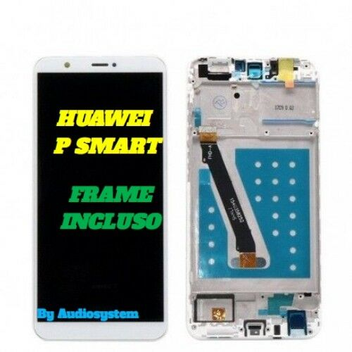DISPLAY LCD+TOUCH SCREEN FRAME HUAWEI P SMART FIG-LX1 LX3 LA1 VETRO BIANCO COVER