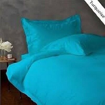 TURQUOISE SOLID BED SHEET SET QUEEN SIZE 1000 TC 100% EGYPTIAN COTTON for sale  Shipping to India