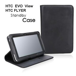 HTC-FLYER-EVO-VIEW-4G-BLACK-STANDBY-SLIM-LEATHER-CASE-STAND-PORT-FOLIO-COVER