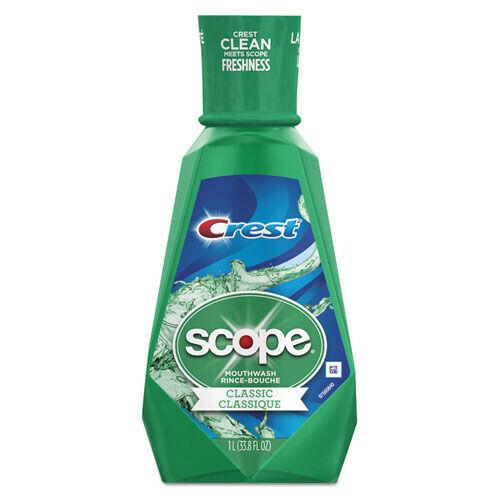 Crest 95662EA 1-Piece +Scope 1L Bottle Mouth Rinse - Classic Mint New