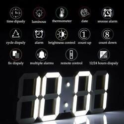 Digital Big Large 3D LED Wall Desk Clock Alarm Snooze Temperature Date 12/24H A+