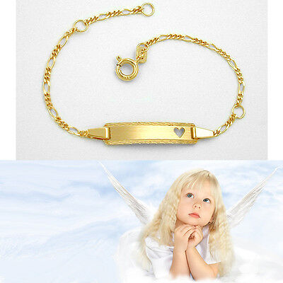 Baby Kinder Taufe Echt Gold 333 Herz Herzchen Armband mit Gravur Name Datum