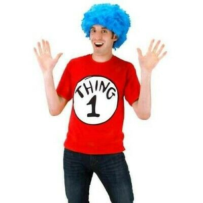 NEW Dr. Seuss The Cat In The Hat Thing 1 Halloween Costume Adult L Wig & T Shirt