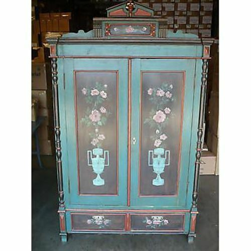Antique Old Wooden Painted Armoire