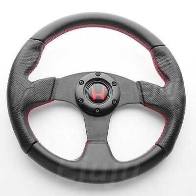 Perforated Finger Grip Black w/ Red Seam Steering Wheel w/ Horn For Honda Acura Acura Rsx Steering