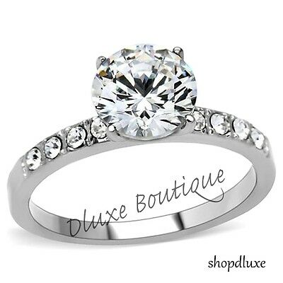 Beautiful Round Cut Stainless Steel AAA CZ Engagement Ring Women's Size (Beautiful Stainless Steel Ring)