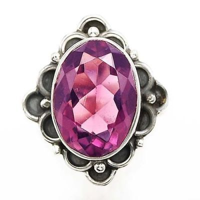 - 8CT Oval Cut Dark Purple Amethyst 925 Solid Sterling Silver Ring Size 7