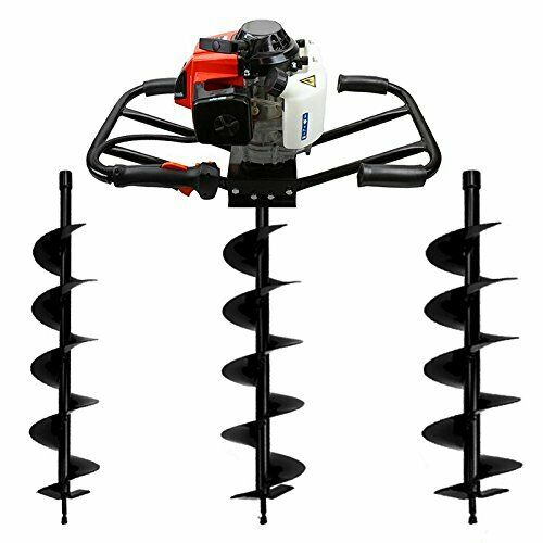 "2-Man 63CC 2 Stroke Planting Gas Post Hole Digger Powerhead & 4"" 6"" 8"" Bit Kit"