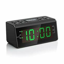 """Digital Alarm Clock Radio with AM/FM Radio, 1.2"""" Big Digits Display, Green"""