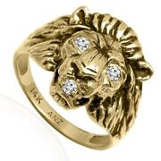 Mens Gold Lion Ring