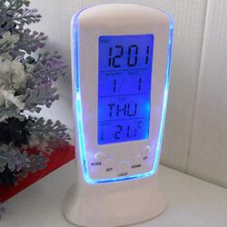 LED Digital Alarm Clock Blue Backlight Electronic Calendar Thermometer Hot