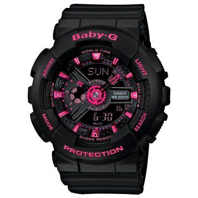 Casio Baby-G BA111-1A Tandem Series Women's Black Pink Analog Digital Watch