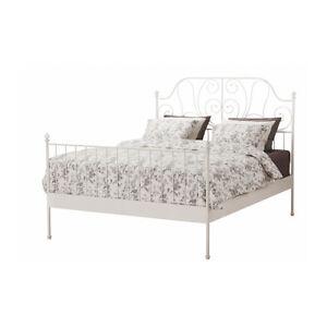 IKEA LEIRVIK Bed frame, white, queen