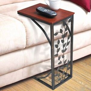 Side sofa end table wood desk sofa chair tray slide under Sofa side table