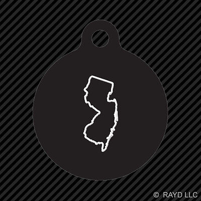 New Jersey Outline Keychain Round with Tab dog engraved many colors NJ