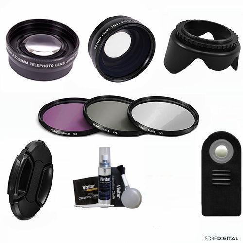 WIDE ANGLE LENS + ZOOM LENS + REMOTE + FILTERS FOR CANON REB