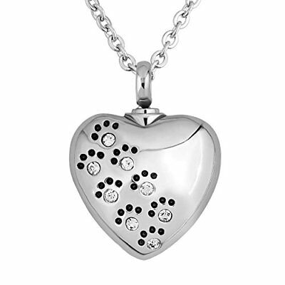 Pet Dog Paw Heart Cat Cremation Urn Necklace For Ashes Memorial Keepsake White