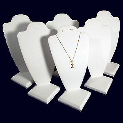 6 White Leather Necklace Earring Jewelry Display 10