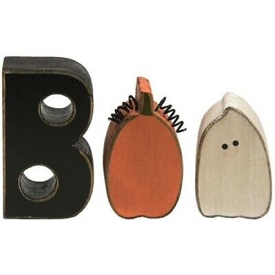 New Primitive Rustic Country Halloween GHOST PUMPKIN BOO WOOD BLOCKS Word Sign -