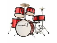 Rocket 5 Piece Junior Drum Kit - Red - used less than a dozen times!