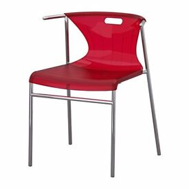 IKEA ELMER - 4x Chairs, red, chrome-plated