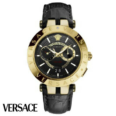 Versace VEBV00119 V-Race gold black Leather Men's Watch NEW