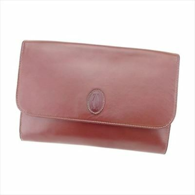 Cartier Clutch bag Mastline Red leather Woman unisex Authentic Used T8261