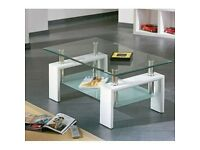 Alva Glass Coffee Table with Undershelf and White Finish Legs