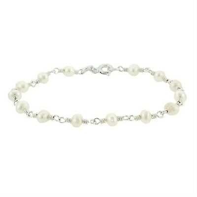 """925 Silver Freshwater Cultured White Pearl Bead Link Bracelet, 7"""""""