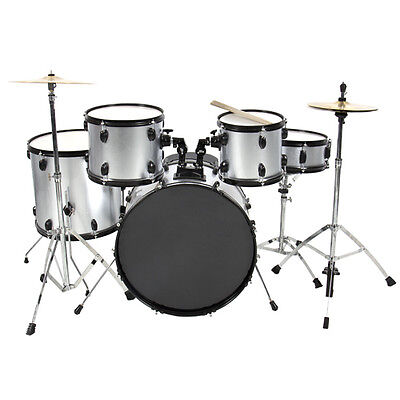 Drum Set 5 PC Complete Adult Set Cymbals Full Size Silver New Drum Set on Rummage