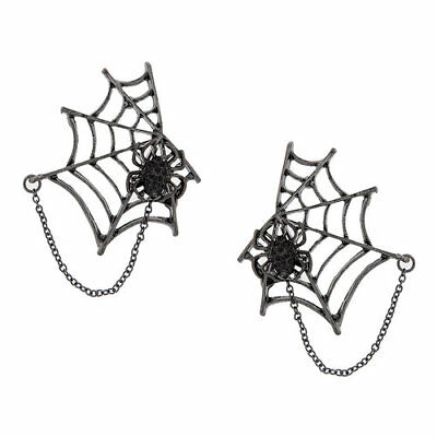 Large Halloween Spider Web (Large Magnetic Black SPIDER w/Cutout WEB Dangle Drop Earrings Halloween)