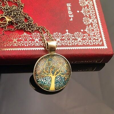 Tree of Life Pendant Necklace Glass Cabochon