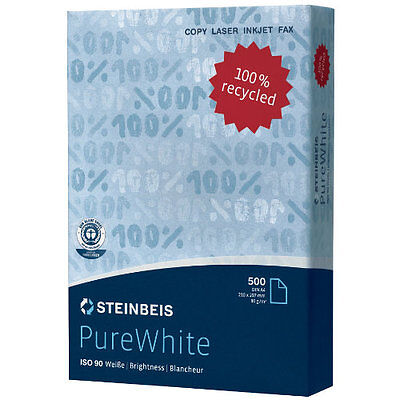 Steinbeis A4 printer paper off white 80gsm 5 reams 2500 sheets 100% recycled