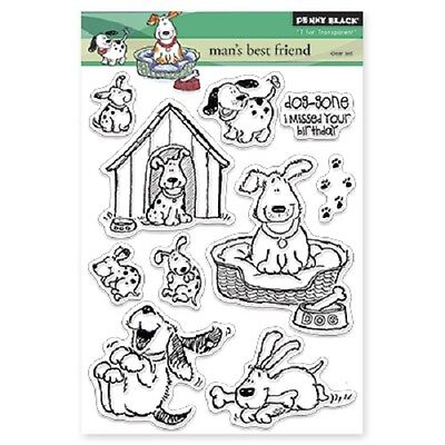 PENNY BLACK RUBBER STAMPS CLEAR MAN'S BEST FRIEND NEW clear STAMP SET