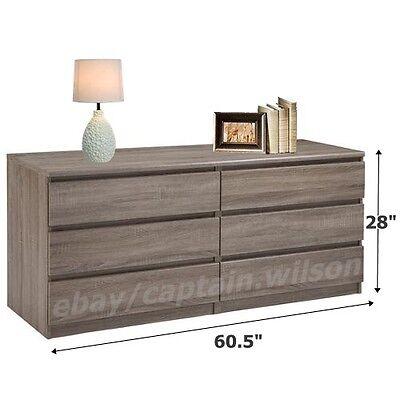 كومودينو جديد Bedroom Storage Dresser Chest Double 6 Drawer Modern Light Brown Truffle