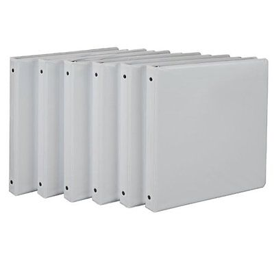 Universal 3 Ring Binders Economy View Round Ring 1/2 in White - 6 Pack