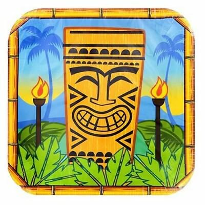 14 Tiki Party Plates - Tropical Luau paper dinnerware, Hawaiian - Tiki Party Theme