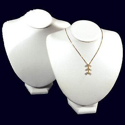 2 White Leather Necklace Jewelry Display Busts 8