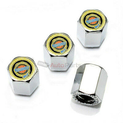 (4) Chrysler Gold Logo Chrome ABS Tire/Wheel Pressure Air Stem Valve CAPS Covers