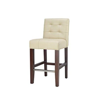 Dining Room Collection Bar Stool - Safavieh Mercer Collection Thompson Cream Leather 25.8-inch Counter Stool