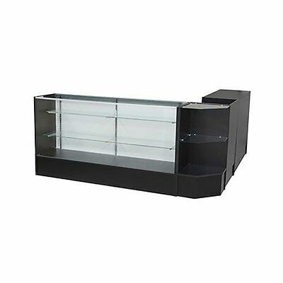 Glass Display Showcase And Counter 4 Piece Set Black. New York Pickup Only