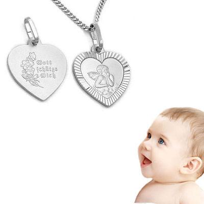 Kinder Baby Schutzengel Herz Anhänger Gott schütze Dich mit Kette Silber 925