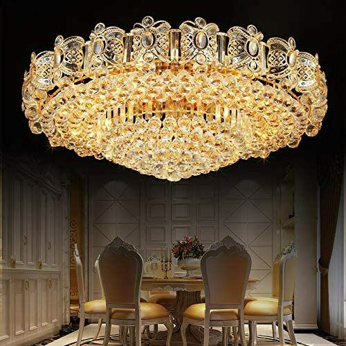Modern K9 Crystal Gold Chandelier Flush Mount LED Ceiling Lamp Light Fixture