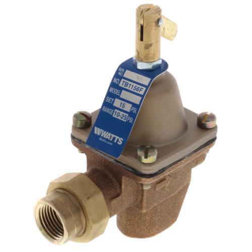 "Watts TB1156F 1/2"" Bronze High Capacity Feed Water Pressure Regulator With Union"
