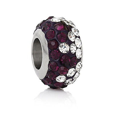 Stainless Steel European Style Charm Beads Round Silver Tone With Purple & Clear Charms & Charm Bracelets