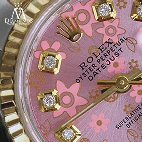 Rolex 18k & Ss 26mm Peach Flower Datejust Diamond Numbers Ladies Watch