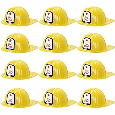Fireman Helmet Kid's Halloween Costume Hat Accessory Dress Up Roleplay, 12-pack