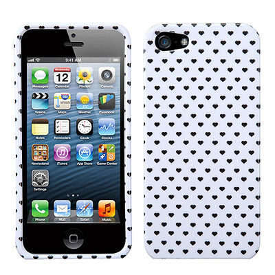 White Heart Dots Apple iPhone 5 5S SE Faceplate Protector Plastic Case Cover